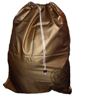 small metallic gold nylon laundry bag