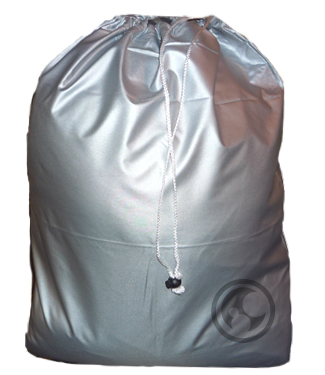 Small Laundry Bag, Metallic Silver, Nylon with Drawstring