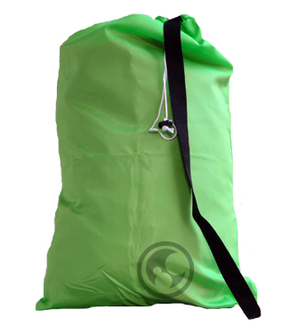 Medium Nylon Laundry Bag, Fluorescent Lime Green