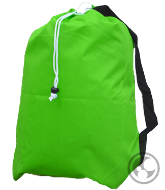Laundry Bags, Lime Green Medium, Nylon with Drawstring and Strap