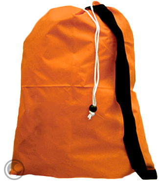 Small Nylon Laundry Bag with Strap, Color: Orange