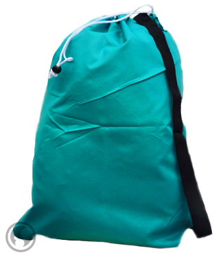 Large Teal Nylon Laundry Bag with Strap, Size:30x40