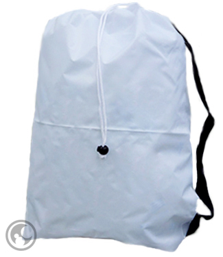 Small White Laundry Bag with Strap