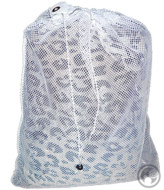 Small Mesh Laundry Bags, White with Drawstring
